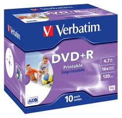DVD+R VERBATIM 10PK PRINTABLE CONFEZIONI LARGE 43508