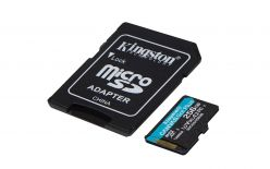 SDXC KINGSTON MICRO 256 GB CANVAS GO PLUS, 170/90 MB / s, C10, UHS-I, U3, V30, A2, ADATTATORE - SDCG3 / 256 GB