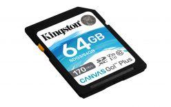 SDXC KINGSTON 64 GB CANVAS GO PLUS, 170/70 MB / s, C10, UHS-I, U3, V30 - SDG3 / 64 GB