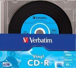 CD-R Vinyl AZO 52x 700MB 80 Min VERBATIM in Jewel Slim Case da 10pz 43426
