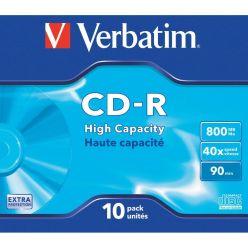 CD-R Verbatim 800MB 90 Min 40X in Jewel Case  43428