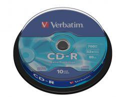 CD-R Verbatim 700MB 80 Min Extra Protection in Campana da 10 Pezzi 43437