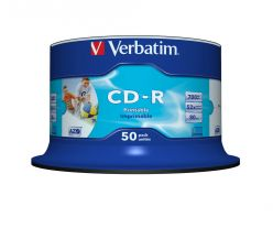 CD-R STAMPABILI VERBATIM 43438 Fullface Inkjet Printable NO ID Campana da 50 pezzi