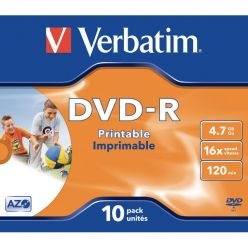 DVD-R VERBATIM  4.7GB 16x Stampabili Inkjet White Printable in Jewel Case 43521