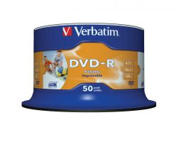 DVD-R Verbatim 16X 4.7GB Stampabili Wide Inkjet Printable - NO ID Branded - Campana da 50 PZ 43533
