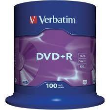 DVD+R VERBATIM 16X 4.7GB CAMPANA 100PZ 43551