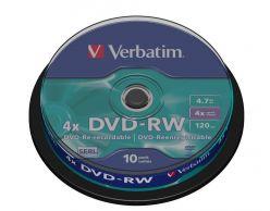 DVD-RW VERBATIM  4.7GB 120 Minuti 4X in Campana da 10 Pezzi 43552