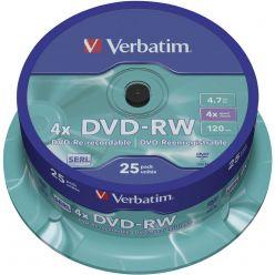 DVD-RW VERBATIM 4.7GB 120 MIN 4X MATT SILVER SURFACE CAMPANA 25PZ 43639