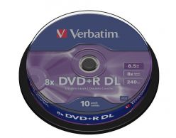 DVD+R VERBATIM Double Layer 8,5 GB  8X in Campana da 10 Pezzi 43666