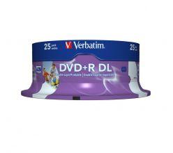 DVD+R DOUBLE LAYER 8.5GB 8X STAMPABILI INKJET PRINTABLE VERBATIM CAMPANA 25PZ 43667