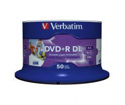 DVD+R DOUBLE LAYER 8.5GB 8X STAMPABILI INKJET PRINTABLE NO ID VERBATIM CAMPANA 50PZ 43703
