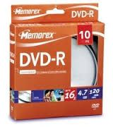 DVD-R Memorex 4.7 GB 120 min 16x in Campana da10pz