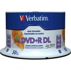 VERBATIM DVD+R DOUBLE LAYER STAMPABILI 8.5GB 8X INKJET PRINTABLE CAMPANA 50PZ 97693