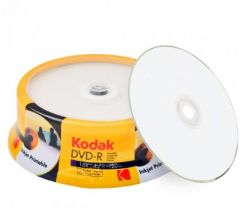 Kodak DVD-R Stampabili inkjet White fullsurface printable 4.7GB 120min 16x in Campana da 25 Pz K1430325