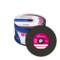 CD-R VINYL BLACK DYE 52x 700MB 80 MIn MEDIARANGE in Campana da 50 Pezzi MR225