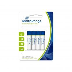 MediaRange premium batterie ricaricabili AAA PILE MINISTILO Accu HR03 1.2v 800mAh pack 4 pz