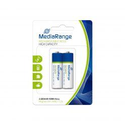 MediaRange Batterie Ricaricabili Alta Capacità Ricaricabile NiMH Acus AA PILE STILO HR6 1.2v pack 2 pz