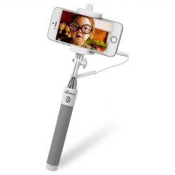 MediaRange Braccio Telescopico Selfie-Stick Universale per Smartphone, con Cavo