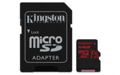 SCHEDA MICRO SDXC 64GB CANVAS REACT UHS-I U3 KINGSTON SDCR/64GB