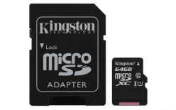 SCHEDA MICRO SDXC 64GB CANVAS SELECT UHS-I U1 KINGSTON SDCS/64GB